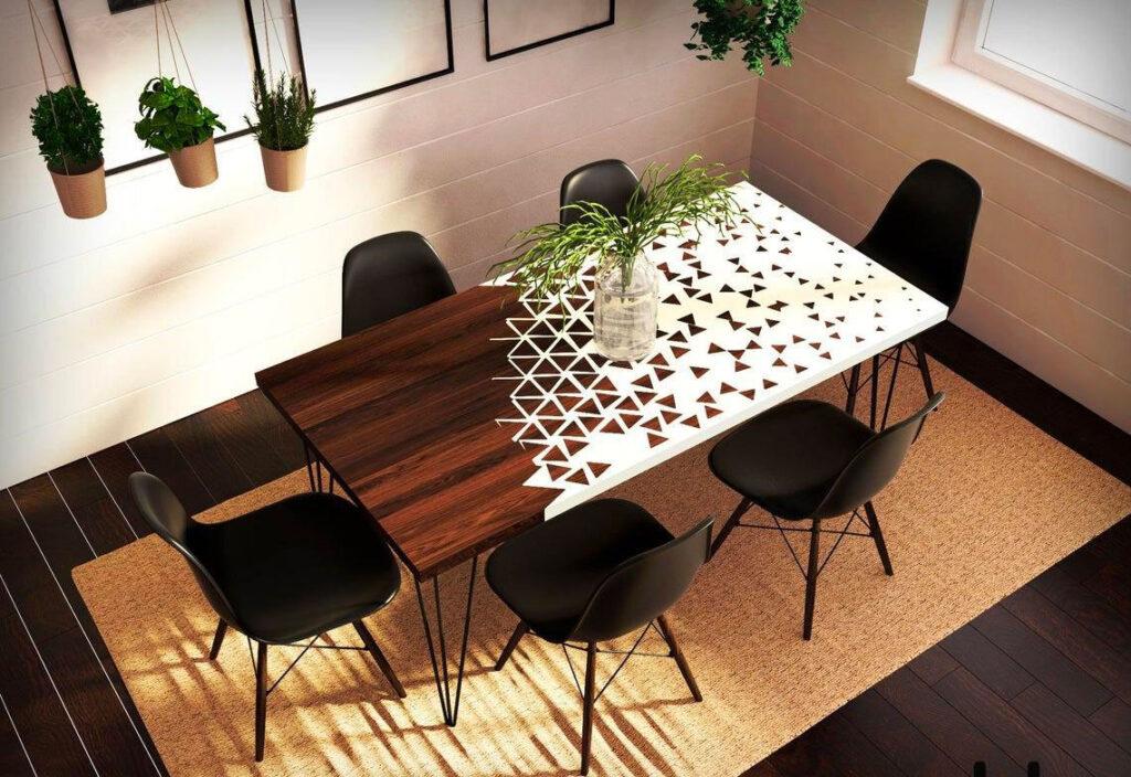 Обеденный стол с белой смолой